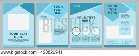 Geometric Turquoise Corporate Brochure Template. Flyer, Booklet, Leaflet Print, Cover Design With Co