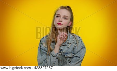 Thoughtful Clever Teenager Student Girl 20s Years Old Rubbing Her Chin And Looking Aside With Pensiv