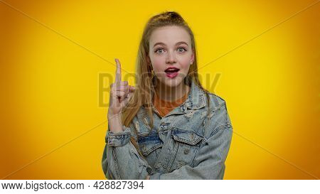 Eureka. Thoughtful Clever Inspired Teen Stylish Girl Make Gesture Raises Finger Came Up With Creativ