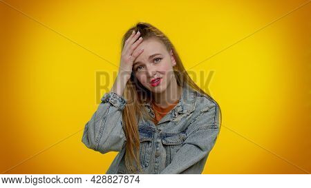 Sincere Teen Student Girl 20s Years Old In Jacket Wish, Waiting For Good Luck And Loses Becoming Sur