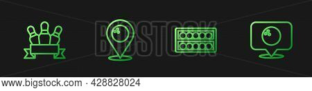 Set Line Billiard Balls On A Stand, Bowling Pin, Location With Bowling And . Gradient Color Icons. V