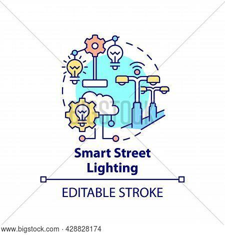Smart City Lighting Concept Icon. Lighting Intelligent Management Abstract Idea Thin Line Illustrati