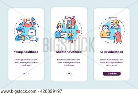 Adulthood Stages Onboarding Mobile App Page Screen. Adult Life Transitions Walkthrough 3 Steps Graph