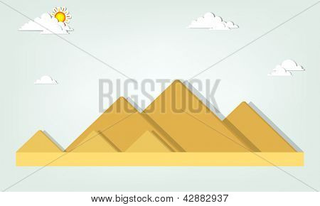 vector landscape with the Egyptian pyramids