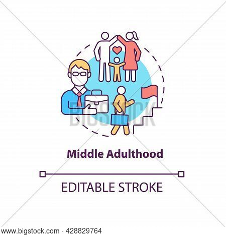 Middle Adulthood Concept Icon. Genuine Concern For The Welfare Future. Generation Progress. Career L