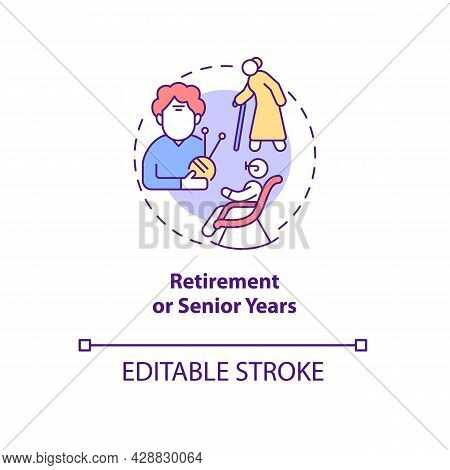 Retirement Of Senior Years Concept Icon. Social Safety. Older Adult Hobbies. Pension Age Abstract Id