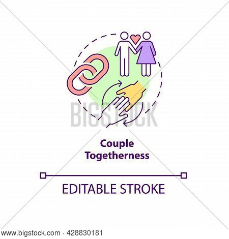 Couple Togetherness Concept Icon. Strong Partnership. Mutual Core. Healthy Relationship Abstract Ide