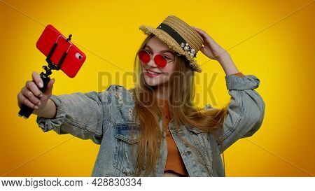 Beautiful Teenager Student Girl Traveler Blogger In Sunglasses, Taking Selfie On Mobile Phone, Commu