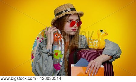 Displeased Tired Boring Traveler Tourist Teen Stylish Girl In Summer Clothes On Yellow Background. P