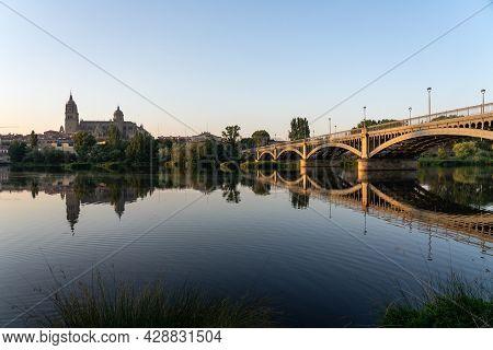 Salamanca, Spain - July 27, 2020: Cityscape Of Salamanca Since Tormes Riverbank With The City, Enriq