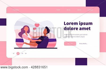 Young Happy Couple Hugging Each Other. Girlfriend, Date, Sea Flat Vector Illustration. Relationship