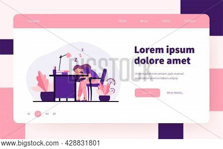 Tired Woman Sleeping During Work At Table. Desk, Exhaustion, Employee Flat Vector Illustration. Work