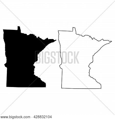 Map Of Minnesota On White Background. Map Of The U.s. State Of Minnesota. Outline Map Of Minnesota.