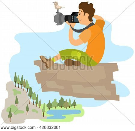 Photographer Taking Picture Of Landscape. Man Holding Digital Camera With Powerful Zoom Lens. Photo