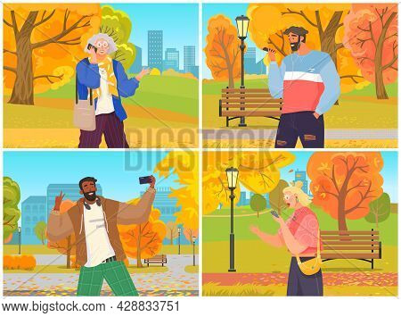 People Using Smartphones, Gadget, Mobile Phone. People With Cellular Devices Cartoon Character. Mobi