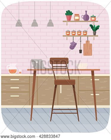 Table With Laptop And Chair In Interior Of Workplace In Kitchen. Modern Workplace Interior With Furn