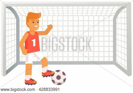Football Player With Ball. Soccer Trainer Near Gates With Net On Playing Field Isolated On White Man