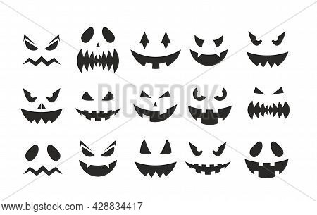 October Party Scary Black Clipart Collection, Spooky Pumpkins Facial Expression, Smiling Ghost Face