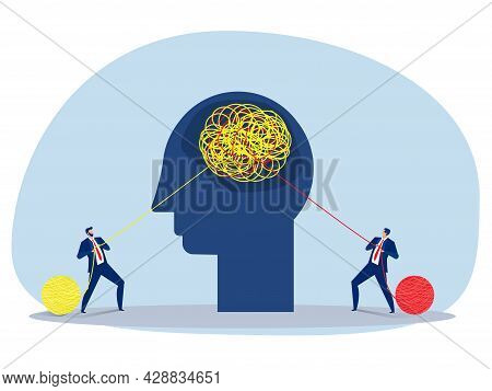 Two Business Pulling At Tangled Rope In Opposite Directions. Competition Concept Vector Illustration