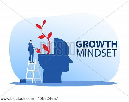Businessman Watering Plants With Big Brain Growth Mindset Concept Vector