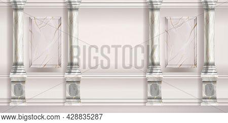 Marble Pillar Vector Background, Roman Classic Palace Room Wall, Greek Interior, Stone Column. Antiq