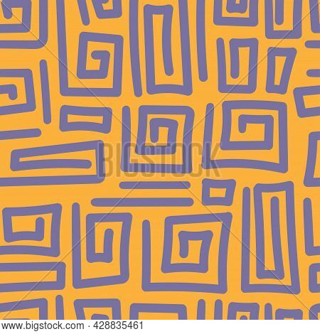 Seamless Abstract Black Pattern On Orange Background. Vector Doodle Image. Graphic Triangles  Orname