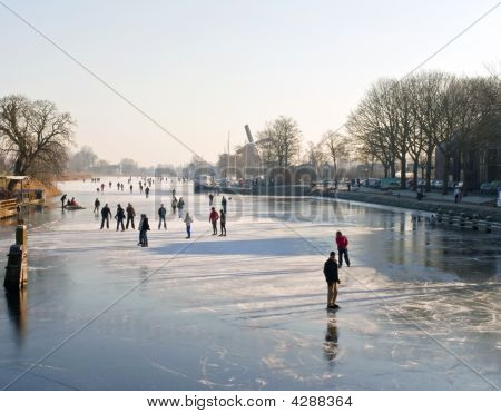 Holland Ice Skating On Canal