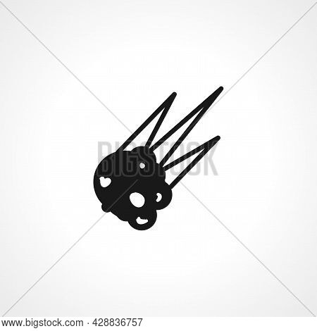 Asteroid Icon. Meteorite Simple Vector Icon. Meteorite Isolated Icon.