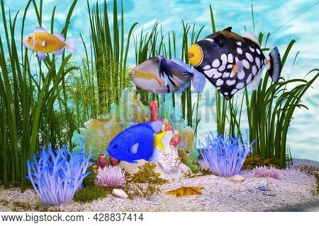 Artistic 3d Illustration Of Colorful Tropical Fishes