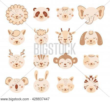 Set With Faces Cute Animals In Pastel Colors For Kid. Collection Baby Animal Characters In Flat Styl