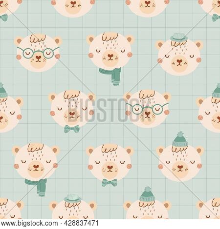 Seamless Pattern With Cute Bears Wearing Glasses, Hat, Bow Tie. Background Is Blue, Geometric In Fla