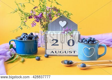 Calendar For August 20 :the Name Of The Month Of August In English, Cubes With The Number 20, Bluebe