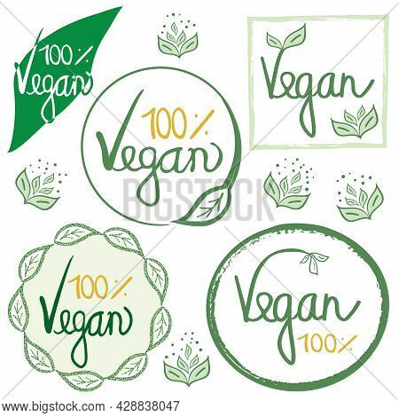 Vegan Natural Food Concept. Set Of Green Yellow White Vector Labels With Doodle Hand Drawn Lettering