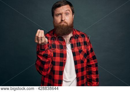 Pissed Sexy Guy With Beard Inred Checkered Shirt Shaking Fingers In Italian Gesture, Where Is My Mon