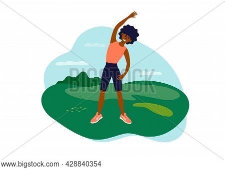Outdoor Physical Activity, Female Healthy Active Leisure. Young African American Woman Doing Side Be