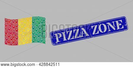 Mosaic Pointer Waving Guinea Flag Constructed With Map Elements, With Grunge Blue Rectangle Pizza Zo