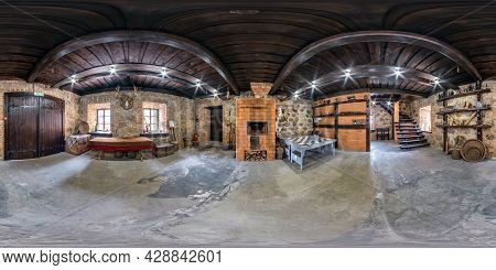 Minsk, Belarus - December, 2021: Full Seamless Spherical Hdri Panorama 360 Degrees Interior Of Recep