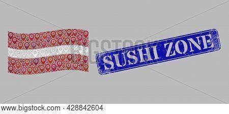 Mosaic Navigation Waving Latvia Flag Designed With Location Items, With Grunge Blue Rectangular Sush