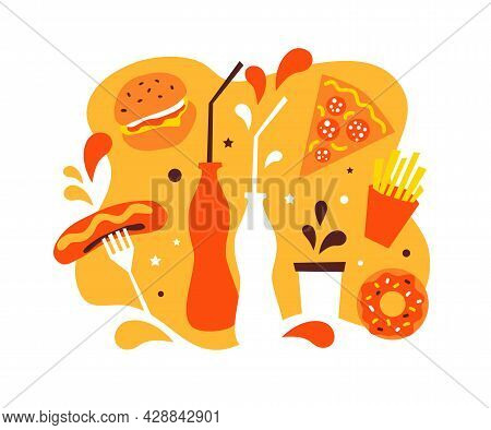 Fast Food Meal. Hot Dog Sausages, Cheese Burger, Pizza Pepperoni, French Fries, Donut, Bottles Drink