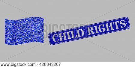Mosaic Targeting Waving Blue Flag Created Of Cursor Icons, With Scratched Blue Rectangular Child Rig