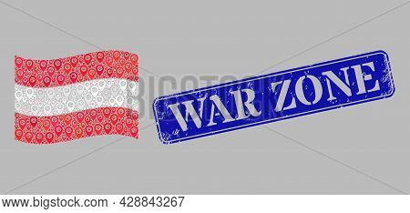 Mosaic Pointer Waving Austria Flag Designed With Map Items, With Grunge Blue Rectangle War Zone Stam