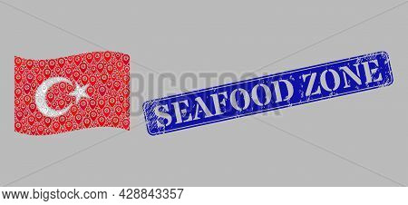 Mosaic Navigation Waving Turkey Flag Designed With Tag Icons, With Rubber Blue Rectangular Seafood Z