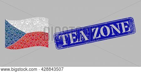 Mosaic Targeting Waving Czech Flag Created With Mark Items, With Scratched Blue Rectangular Tea Zone