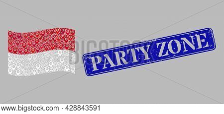 Mosaic Guide Waving Indonesia Flag Designed With Tag Elements, With Scratched Blue Rectangle Party Z
