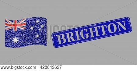 Mosaic Targeting Waving Australia Flag Constructed Of Navigate Items, With Textured Blue Rectangular