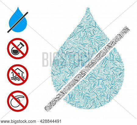 Hatch Collage No Water Drop Icon Organized From Narrow Elements In Various Sizes And Color Hues. Irr