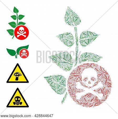 Line Mosaic Herbicide Toxin Icon Composed Of Straight Items In Various Sizes And Color Hues. Irregul