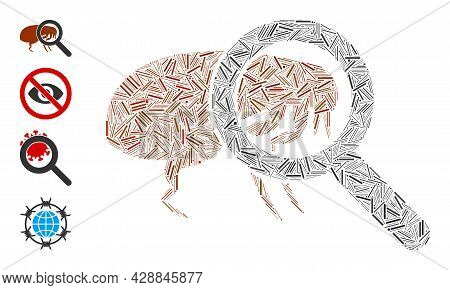 Line Mosaic Total Flea Control Icon Designed From Narrow Items In Variable Sizes And Color Hues. Lin