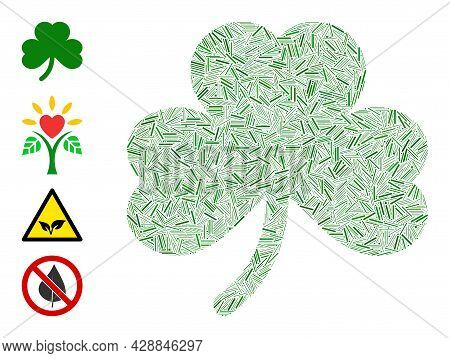 Hatch Mosaic Clover Leaf Icon Composed Of Narrow Elements In Different Sizes And Color Hues. Irregul