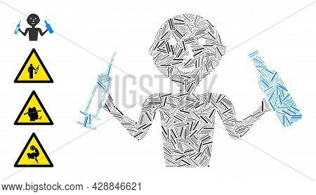 Line Collage Addict Man Icon Composed Of Thin Elements In Variable Sizes And Color Hues. Line Parts